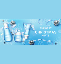 winter cosmetic christmas gifts mock up banner vector image