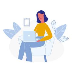 Woman using laptop cartoon vector