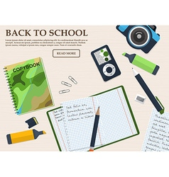 Working student desk with copybook and stationery vector
