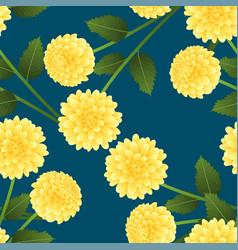 Yellow dahlia on indigo blue background vector
