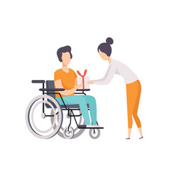 Young woman giving a present to man in wheelchair vector
