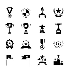 Awards Symbols and Trophy Silhouette Icons Set vector image vector image