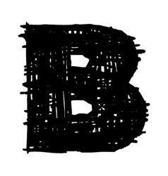 B -hand drawn character sketch font vector image vector image