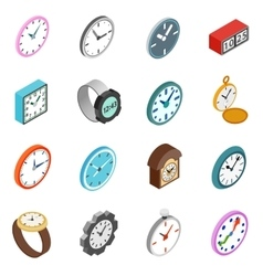 Clocks icons set isometric 3d style vector image