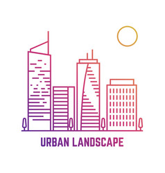 colorful urban landscape in line style vector image