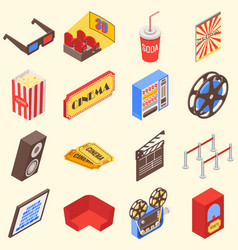 movie theater accessories and gadgets in isometric vector image vector image