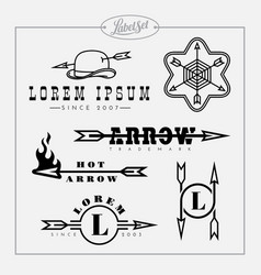 Outline label set with arrow vector
