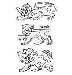 Powerful lions and predators vector image