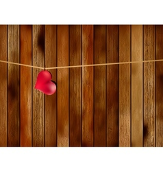 Red heart hanging on old wood EPS8 vector image vector image
