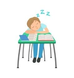 Schoolboy Sitting Behind The Desk In School Class vector image vector image