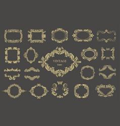 set of gold vintage floral frames vector image vector image