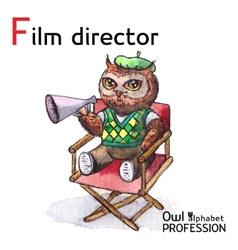 Alphabet professions Owl Letter F - Film Director vector image