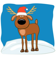 Christmas deer in a cap of Santa vector image