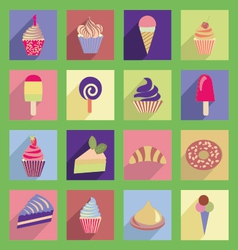 cupcakes icons with flat 2 38 vector image