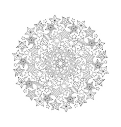 Graphic Mandala with outline stars Zentangle vector image vector image