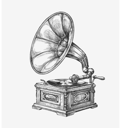 Hand-drawn vintage gramophone Sketch music vector image