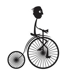Man on Old Bicycle - Bike vector image