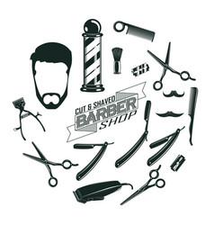monochrome vintage barber shop elements concept vector image
