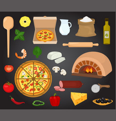 pizza italian food with cheese and tomato vector image vector image