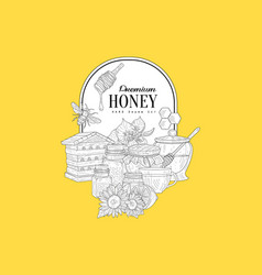 premium honey vintage sketch vector image