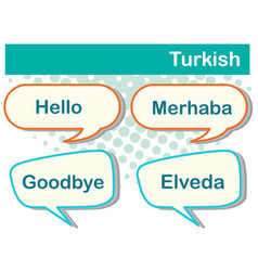 speech bubbles with turkish words vector image vector image