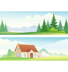 Spring and summer banners vector image vector image