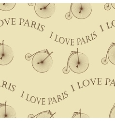 Vintage Bicycle Paris seamless vector image vector image