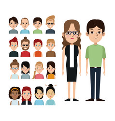 cartoon couple with portrait group people vector image vector image