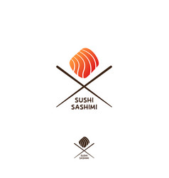 sushi and sashimi logo or japanese restaurant embl vector image