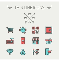 Business shopping thin line icon set vector image vector image