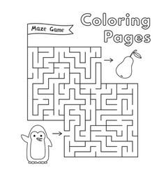 cartoon penguin maze game vector image vector image