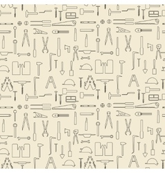Construction tools items linear set seamless vector image