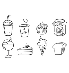 Different foods with drinks vector image vector image