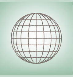 earth globe sign brown flax icon on green vector image