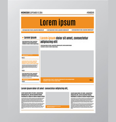 newspaper design template with red headline vector image vector image