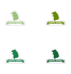 Set of paper stickers on white background South vector image vector image
