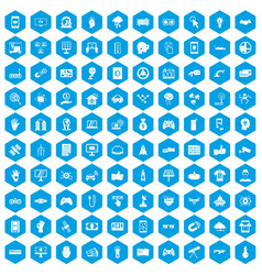 100 hi-tech icons set blue vector
