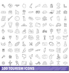 100 tourism icons set outline style vector image