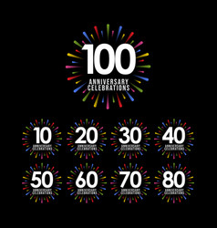 100 years anniversary set celebration template vector