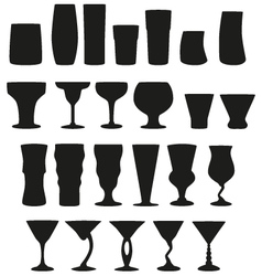 22 Silhouette Cocktail Glasses vector image vector image