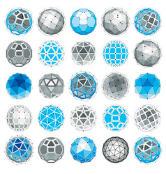 3d digital wireframe spherical objects made using vector image