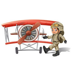 A young soldier near the plane vector