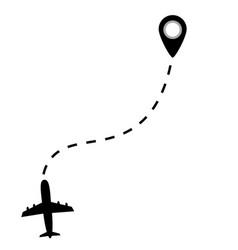 airplane line path vector image
