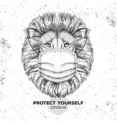 Animal lion wearing face medical mask covid-19 vector