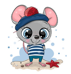 bacartoon mouse in sailor costume vector image