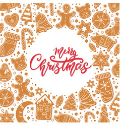Background merry christmas gingerbread cookies vector