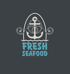 Banner for fresh seafood with anchor and rope vector