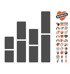 Bar charts icon with love bonus vector