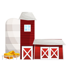 Barn with two silo towers vector