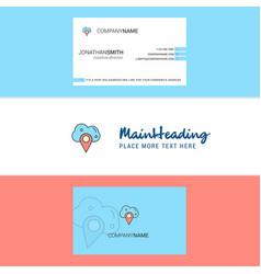 beautiful cloud navigation logo and business card vector image